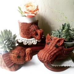 Vintage Animal Baskets with Plants