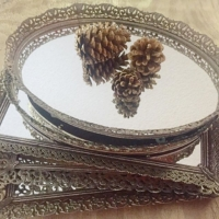 Vintage Mirrored Dresser Trays