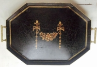 Vintage Black Gold Trim Footed Metal Tray-Large