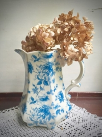 Vintage Blue Floral Ceramic Pitcher