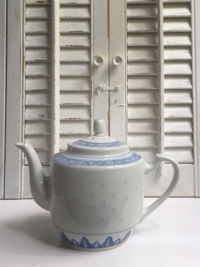 Vintage Blue and White Asian Teapot