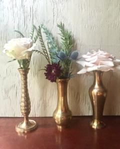 Vintage Brass Bud Vases