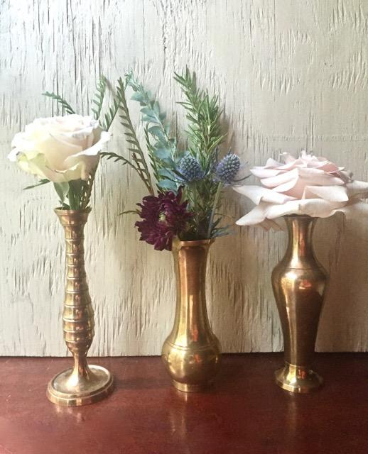 Southern Vintage Table Vintage China Rental NC. Brass Bud Vases