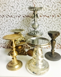 Assorted Vintage Pillar Candle Holders
