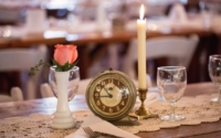Vintage Candleholder and Clock on Wedding Table