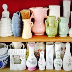 Shelves of Vintage Vases