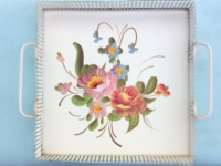 Vintage White Floral Enameled Tray