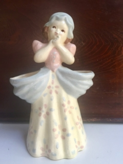 Vintage Girl Vase with Blue Bonnet
