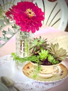 Vintage Glass Vase and Teacup
