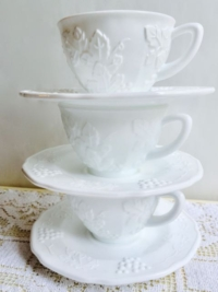Vintage Milk Glass Coffee Cups