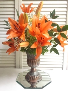 Metal Vase with Lilies