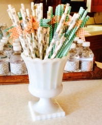 Vintage Milk Glass Compote with Straws