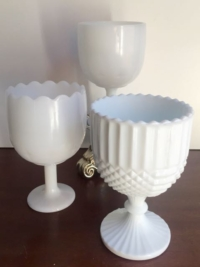 Large Vintage Milk Glass Compotes