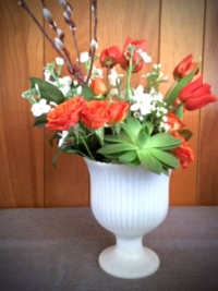 Vintage Milk Glass Compote with Flowers