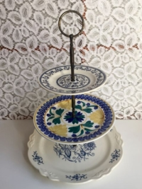 Vintage Mixed Blues Tiered Stand