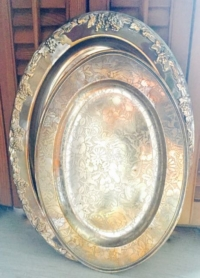 Vintage Oval Silver-plate Trays