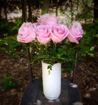 Large Milk Glass Vase with Roses