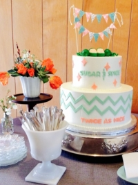 Vintage Baby Shower Cake and Decor