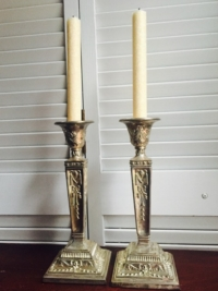 Vintage Ornate Silver Orate Candleholders