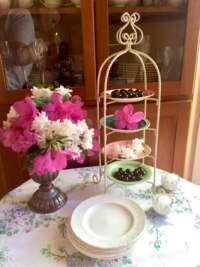 Vintage White Metal Tiered Stand with Florals