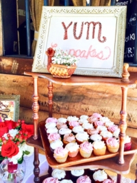 Vintage Wooden Tiered Shelves with Cupcakes