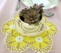 Vintage Yellow Doily with Teacup Sedum