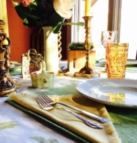 Vintage Colored Napkins on Easter Table