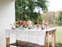 Vintage Lace Tablecloth with Desserts