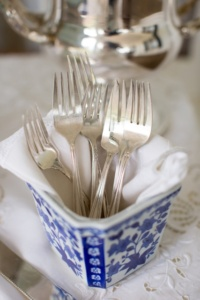 Vintage Forks in Blue and White Planter