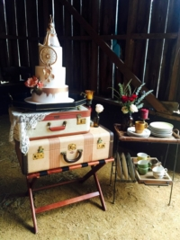 Vintage Luggage on Stand with Cake