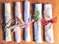 Assorted Vintage Rolled Napkins