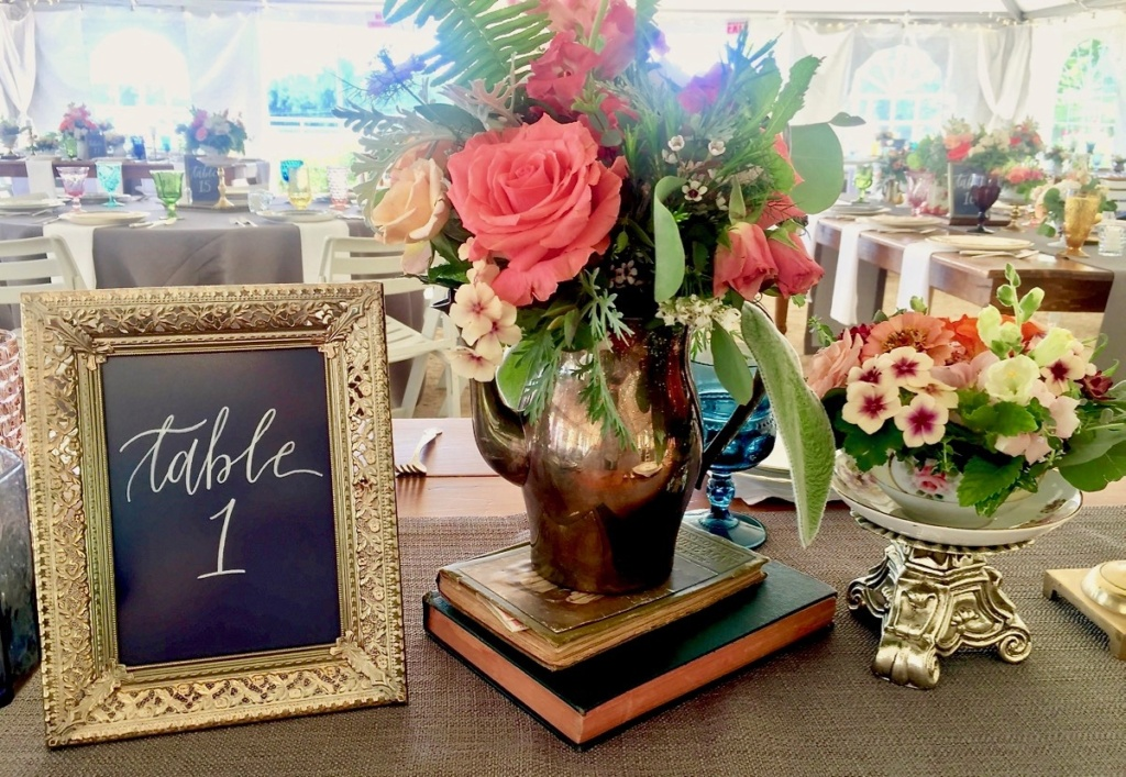 Wedding Tablescape with Vintage Table Sign