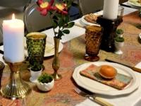 Vintage Printed Runner on Thanksgiving Dinner Table