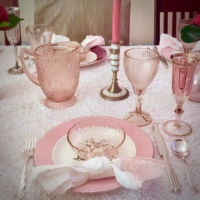 Pink Place Settings with Pink Goblets
