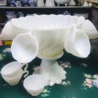 Vintage Milk Glass Punch Bowl and Cups