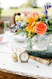 Vintage Clock and Brass Bunny in Centerpiece