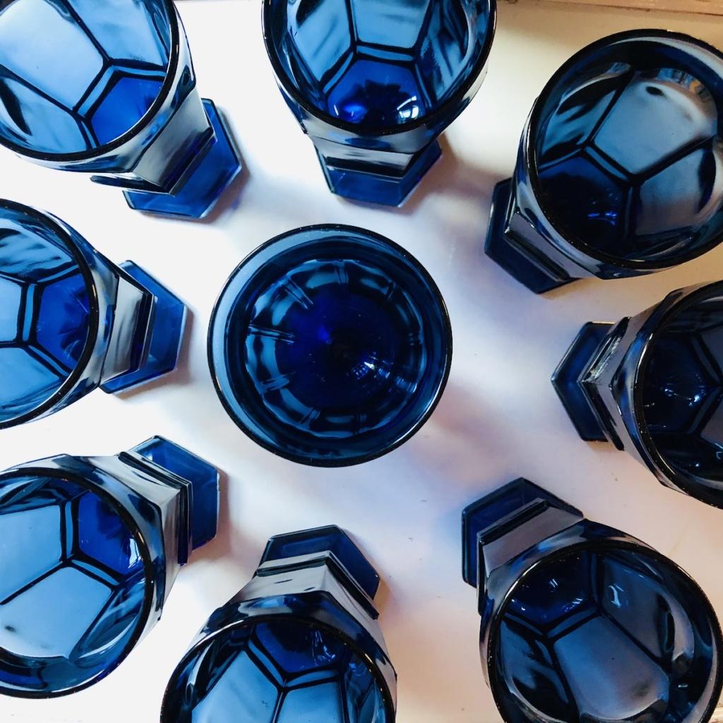 Vintage Dusky Blue Goblets