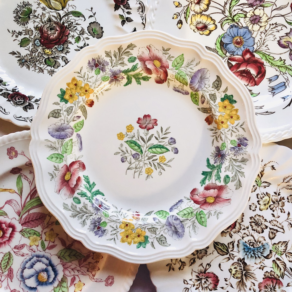 Vintage Floral China Plates