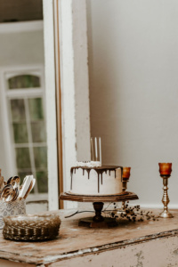 Birthday Cake on Vintage Wooded Stand
