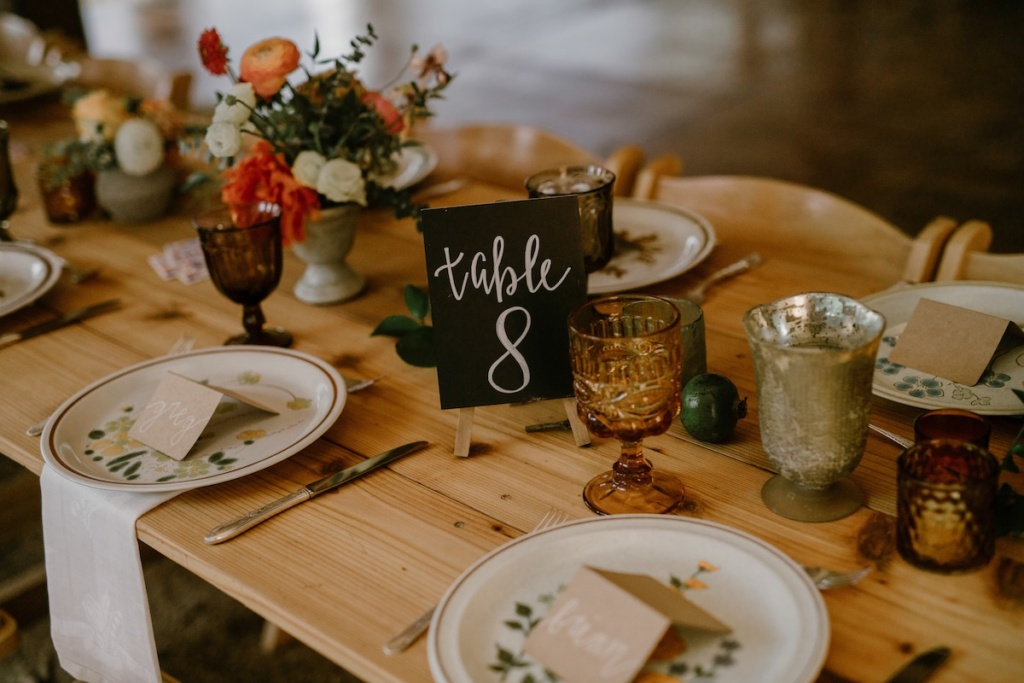 Wedding Reception with stoneware plates