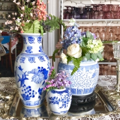 Blue and White Vases and Planter