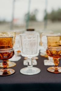 Vintage Clear and Amber Goblets