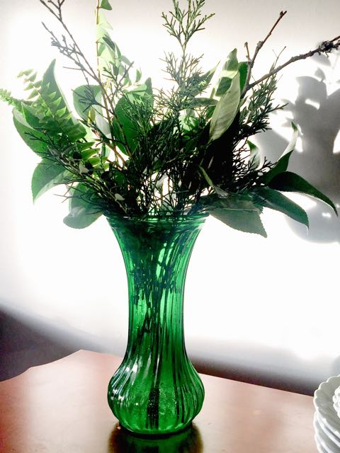 Vintage Green Vase with Flowers