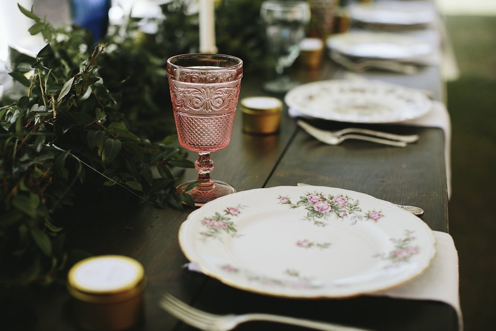 Vintage Place Setting with Pink Goblet