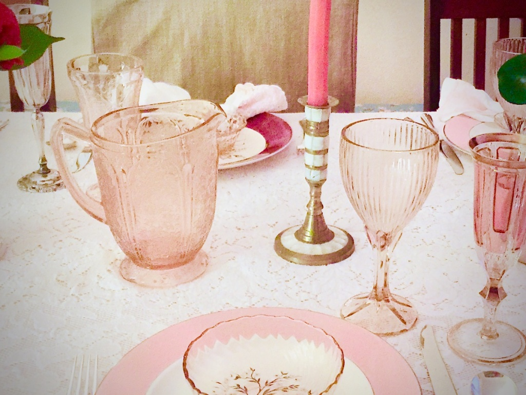 Vintage Pink Pitcher on Table