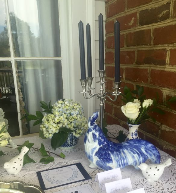 Vintage Blue and White Rooster on Guest Table