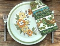 Vintage Napkin on Vintage Stoneware Plate