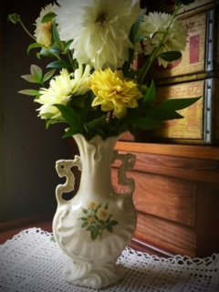 Vintage Vase with yellow roses