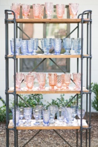 Shelves of Vintage Pink and Blue Goblets
