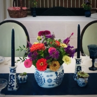 Vintage BLue and White Vase Flowers
